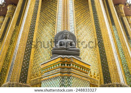Wat Phra Kaew, Temple of the Emerald Buddha, Bangkok, Thailand. - stock photo