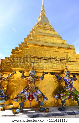 wat phra kaew  the most famous landmark in Thailand - stock photo