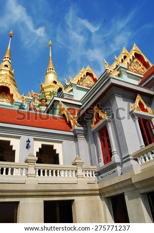 Wat Phra Mahathat chedi Pakdee Prakard. Temple was bulit to worship King Rama9 regime ; Situated on top hill of North BanKrut Beach in Prachuap Khiri Khan, Thailand. - stock photo