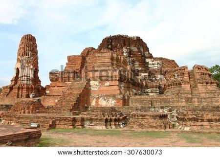 Wat Phra Mahathat in the Ayutthaya historical park, Thailand - stock photo
