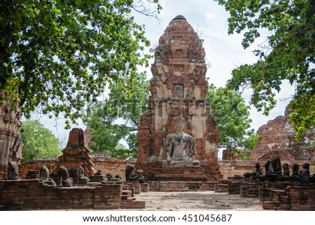 Wat Phra Mahathat in the Ayutthaya historical park, Thailand - stock photo