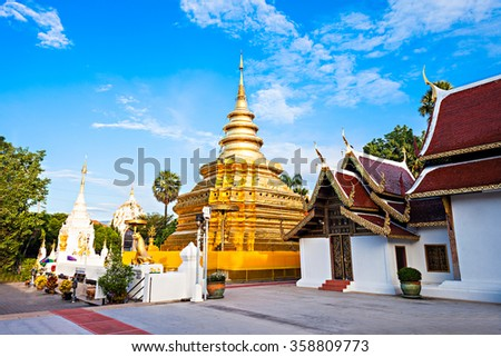 Wat Phra That Si Chom Thong Worawihan is buddhist temple located in Chiang Mai Province, Thailand - stock photo