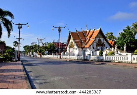 Wat Phumin, ancient temple in Nan, Thailand, , blue sky, blue sky cloud - stock photo