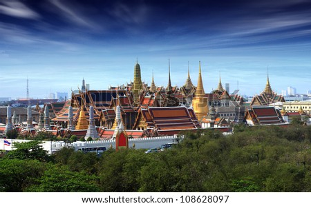 Wat pra kaew Grand palace at dustt,Bangkok Thailand - stock photo