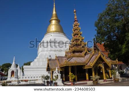 Wat PraThat Don Tao Lampang Thailand.Pagoda, Temple of Thailand - stock photo
