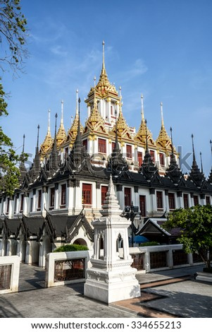 Wat Ratchanaddaram Worawihan (Loha Prasat Metal Palace), Bangkok Thailand - stock photo