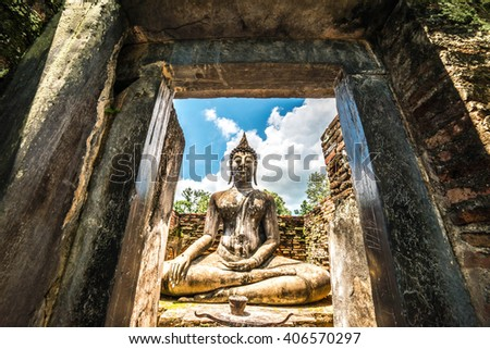 Wat Si Chum (temple) in Sukhothai historical park, Sukhothai, Thailand - stock photo