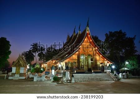Wat Xieng thong  is the most popular temple Luang Pra bang, Laos - stock photo