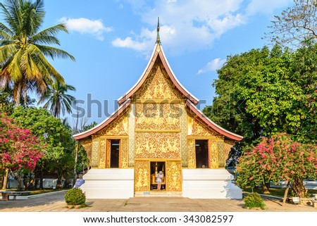 Wat Xieng Thong Ratsavoravihanh or Temple of the Golden City at Luang Prabang, Laos. - stock photo