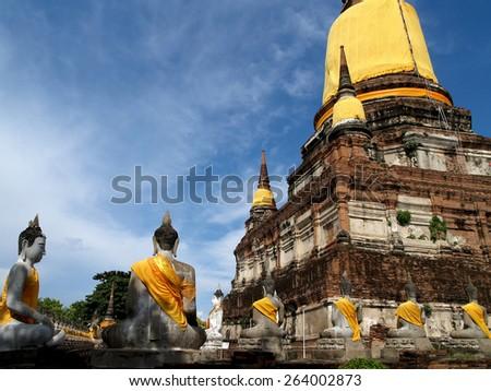 Wat Yai Chaimongkol, Ayutthaya Historical-park, Thailand - stock photo