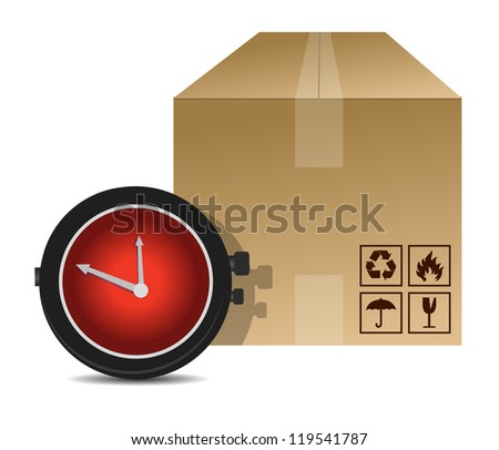 watch and box shipping illustration design over a white background - stock photo