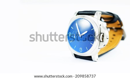 Watch Blue , Blue wristwatch closeup isolated on white background - stock photo