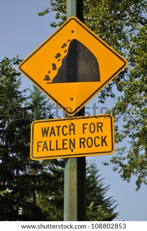 Watch for fallen rock sign - stock photo