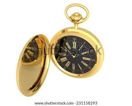 Watch gold pocket vintage isolated illustration - stock photo