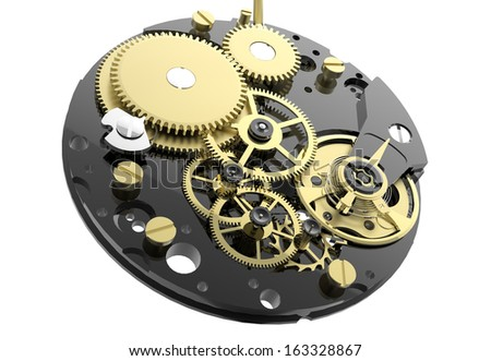 Watch mechanism and gears isolated on white background - stock photo