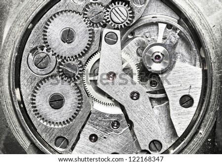 Watch Mechanism Close up - stock photo