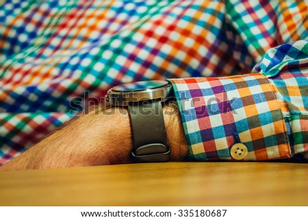 Watch on man hand - stock photo