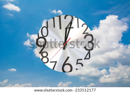 Watch stopwatch graphic element sky background. - stock photo
