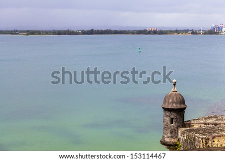 Watch tower in El Morro castle at old San Juan, Puerto Rico.  - stock photo