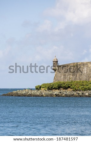 Watch tower in San Juan, Puerto Rico. - stock photo