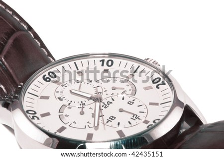 Watch with additional functions on a white background - stock photo