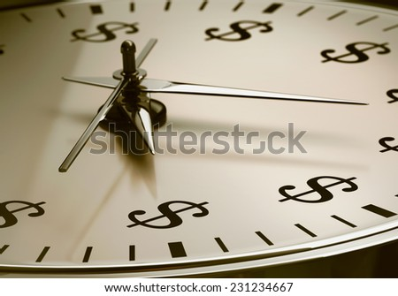 Watch with sign dollar. Depth of field on the sign dollar. - stock photo