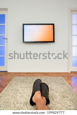 Watching TV in the living room - stock photo