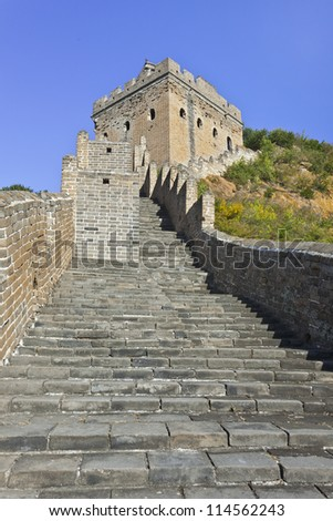 Watchtower at sunset at Jinshanling Great Wall, 120 KM northeast from Beijing. - stock photo