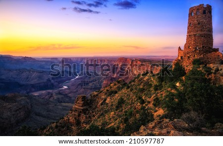 Watchtower Over the Grand Canyon, Grand Canyon National Park, Arizona - stock photo