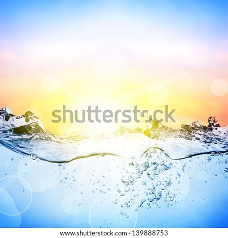 Water and air bubbles over beautifull sunset background - stock photo