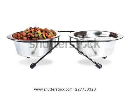 Water and dry dog food in bowls isolated on a white background. - stock photo