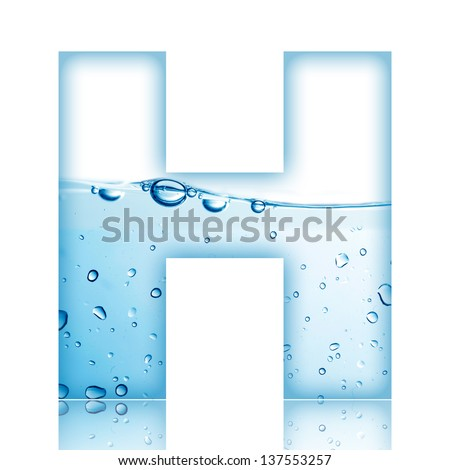 Water and water bubble alphabet letter. Letter H - stock photo