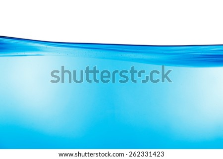 Water background with surface isolated on white - stock photo