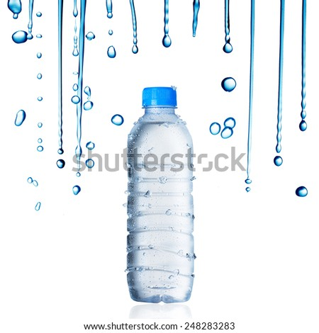 Water Bottle and droplet - stock photo