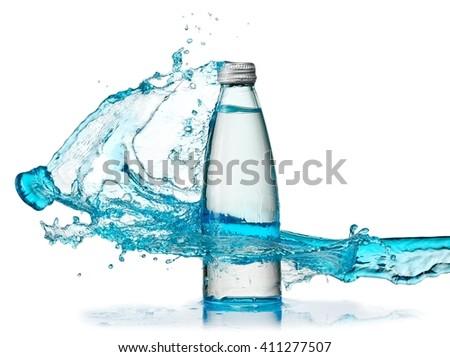 Water bottle blue splash - stock photo