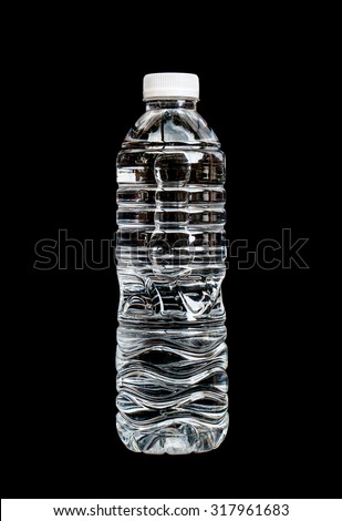 water bottle isolated on black background. - stock photo
