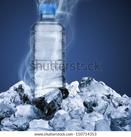 Water bottle on ice cube - stock photo