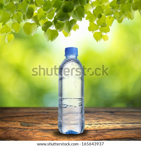 Water bottle on wood table with summer scene background - stock photo