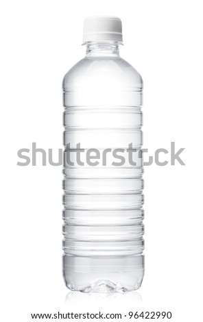 water bottle over white background - stock photo