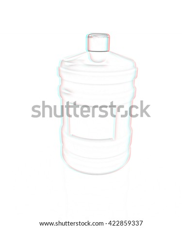 water bottle. Pencil drawing. 3D illustration. Anaglyph. View with red/cyan glasses to see in 3D. - stock photo