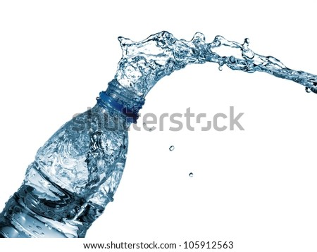 Water bottle splash - stock photo