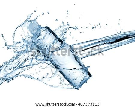 Water bottle splash - stock photo