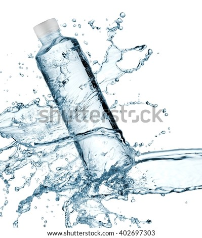 Water bottle splash with drops - stock photo