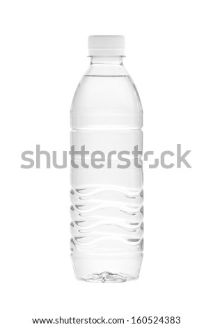 Water bottle (with clipping path) isolated on white background - stock photo