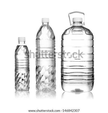 Water Bottle with various sizes on white background - stock photo