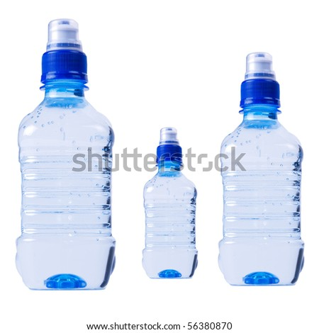 Water bottles isolated on the white background - stock photo