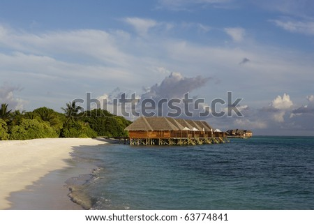 water bungalow - stock photo