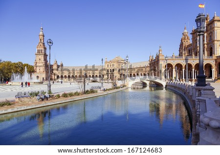 Water Canal on Plaza de Espana - Spanish Square in Seville, Andalusia, Spain  - stock photo