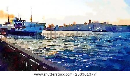 water color bosphorus istanbul - stock photo