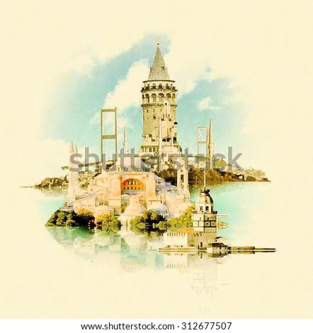 water color illustration istanbul scene - stock photo